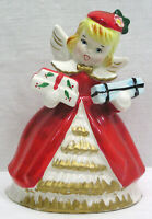"""Vintage Christmas Kreiss Shopper Angel Figurine with Gifts Circa 1950s 6 1/4"""""""