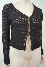 BLUMARINE Black Loose Knitwear Wool Mohair Blend Gold Trim Cardigan Top M/12