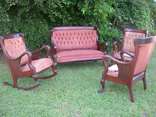 ~ ANTIQUE VICTORIAN FURNITURE COMPLETE PARLOR SET FOUR PIECE WITH PAW FEET ~ ~