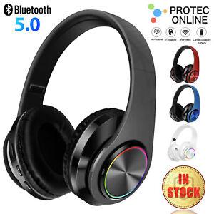 Bluetooth 5.0 Wireless Stereo Headphones Earphones For iPad Phone IOS Android