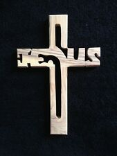 """OLIVE WOOD JESUS CROSS"""" Made in Bethlehem, 7-1/2""""H X 5-1/4"""" NEW in Box, UNSEEN!!"""