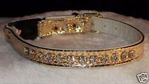 Rhinestone Gold kitty Cat breakaway Collar genuine Crystals metallic Bling!