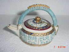 Vintage Nini Collectible Caneware Miniature Teapot Trinket Box Pattern No 6-21