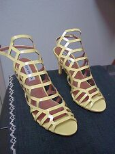 Womens Steve Madden Strappy Caged High Heel Sandals Shoes 7 M High Gloss Yellow