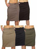 Stretch Denim Look Below Knee Jeans Skirt NEW 8-18