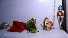 Mixed Christmas Ornaments Betty Boop, Nutcracker, Angel, Holly, Ball & Bag
