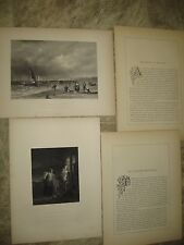 2- 1853 Photogravures Engravings by Painter Sir A.W. Callcott- Sea Shore Holland