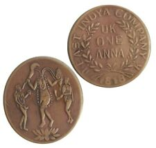 1818 ONE ANNA COPPER MAA KAALI  ANTIQUE OLD COIN