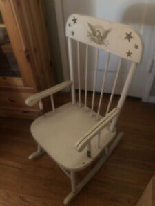 Vintage Child Solid Wood Rocking Chair Painted Golden Eagle and Stars