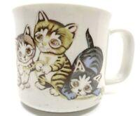 VINTAGE OTAGIRI STONEWARE 10 OZ COFFEE CUP MUG KITTENS/CATS PLAYING SPECKLED TAN