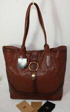 NWT $428 FRYE Genuine Leather Ring Tote Shoulder Bag Cognac Travel Shopper