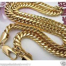 Men's 18k 18ct yellow gold filled solid curb chain necklace 60cm 123g GF Jewelry