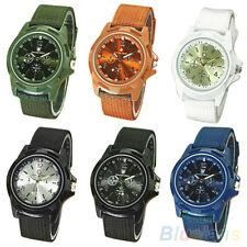 Men's Foxy Cool Military Army Style Nylon Band Quartz Sports Wrist Watch Green