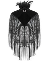 Dark In Love Gothic Cape Black Velvet Lace Shrug Shawl Steampunk VTG Victorian