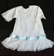 Antique White Cotton Doll Dress Lace Blue Embroidery 4 LG French German Bisque