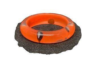 Bright Orange Plastic Ring (Black & White Spots) Size K