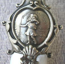 1890 Sterling Silver & MOP Figural Whistle Baby Teether, Little Bo Peep Signed