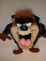 Vintage 1994 Looney Tunes Tasmanian Devil TAZ Biker Plush Toy Tyco Leather.   T