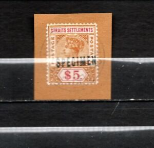 1892-96 Straits Settlements QV  Top Value WITH SPECIMEN RARE  USED