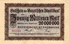 Keller 3657d Bayerische Staatsbank 20 Mio Mark 1923