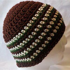 Brown, Green, & White striped NEW Crocheted Beanie Hat Handmade Crochet Adults