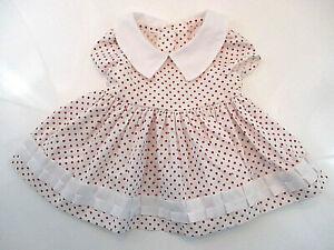 PINAFORE Vtg? Girls Sz 12-18 mos Red White Polka Dot Full Skirt Ribbon Detail