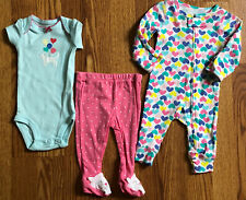 Carter's 3 Piece Girls Kitty + Hearts 2 bodysuits 1 character foot pant Preemie