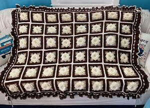 Ivory Roses And Brown Ruffles Afghan - Crocheted Throw Bedspread - 48 Squares