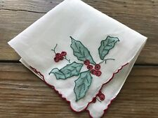 A+ Vintage Madeira Style Embroidered Berries Christmas Hankie 3D Organdy Holly