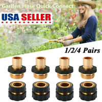 1/2/4Pairs Garden Water Hose Tap Quick Connectors Kit Pressure Washer Connect US