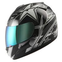 NEW Motorcycle Full Face Helmet Street Bike Adult Star Glossy Black S M L XL
