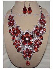 "Red SP Crystal Rhinestone Flower Bib Statement Drop Necklace Earring Set ""New"""