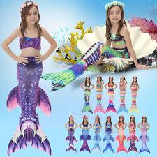 Hot Children Kid Girl Mermaid Tail Swimmable Bikini Set Swimsuit Costume Cosplay