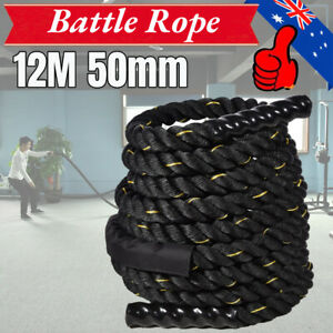 50mm 12m Poly Dacron Battle Rope Exercise Workout Strength Training 14KG Weight