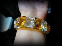 Superbe coupe cristal art déco bracelet cristal ambre
