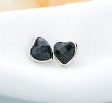 Ohrstecker Ohrring Herz Goldfluss blau schwarz glitzernd Sterling Silber 925