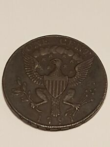 1791 George Washington SMALL EAGLE Rare Colonial Large Cent LETTERED EDGE Coin