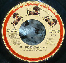 "*<* SALE! GEORGE HARRISON's tribute to JOHN LENNON ""ALL THOSE YEARS AGO"" VG+ 45!"