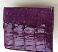 100% Genuine crocodile tail skin leather bifold men purple wallet