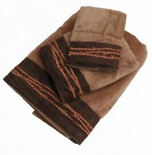 New! 3 Piece Light Brown Towel Set with Embroidered Barbed Wire Design