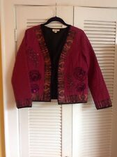 Choices Brick Red , Embroidered, Beaded Crop Jacket , PS