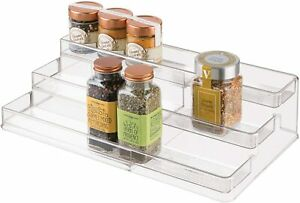 iDesign 64140 iDesign Linus Plastic Expandable Multi-Level Spice Rack, 3-Tiered