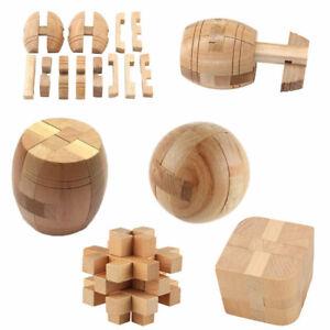Burr Puzzles 3D Brain Teaser Logic Wooden Interlocking Toy Game Kids Adults Game