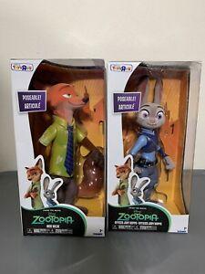 "Disney's Zootopia Poseable Nick Wilde and Judy Hopps. TRU Exclusive Flocked 9"""