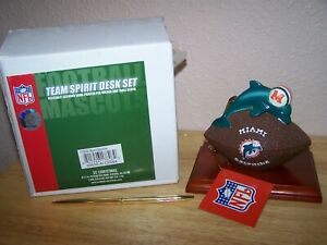 MIAMI DOLPHINS  NFL TEAM SPIRIT DESK SET WITH CLOCK  - NEW IN BOX