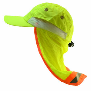 High Visibility Reflective Neck Flap Safety Baseball Neon Green Hats Bump Cap
