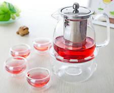 6in1 Clear Glass Tea Set - 575ml Tea Pot w/ Filter & Lid + 4x Cups+ Round Warmer