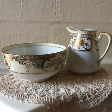 Vintage Japanese Noritake Jug and Bowl Cream, White & Gold 1950s Komaru Mark