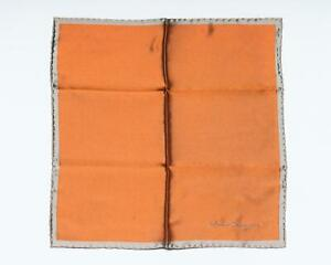 Salvatore Ferragamo New Orange Silver Border 100% Silk Pocket Square 13""