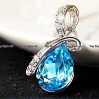 Blue Crystal Necklace Costume Jewelry Xmas Mum Gifts for Her Wife Girls Women B5